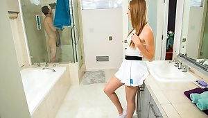 Redhead Ashley lane gets fucked hard in the bathroom around the mirror..