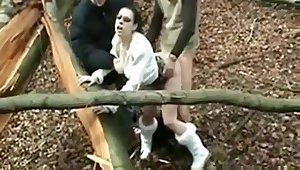 Horny Slut fucked by 2 Older Men in Forest