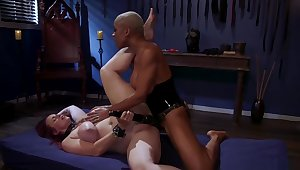 Busty ebony nun whips ass to bbw