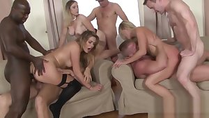 Four Cock Hungry Sluts Have a DP Orgy